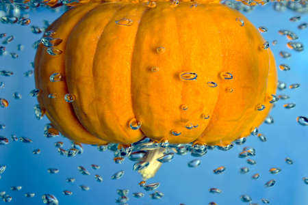 Pumpkin in a water drop tank with air bubbles photo