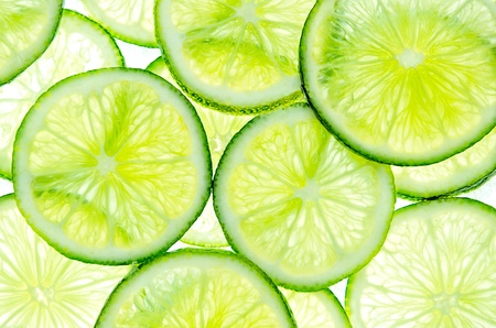 Abstract green background with citrus-fruit of lime slices