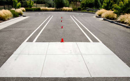 test drive: Test drive track for motorcycle with little cones