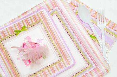 One time use pink plates for baby shower photo