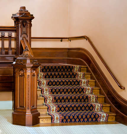 stair: Vintage wooden staircase in California State Capitol