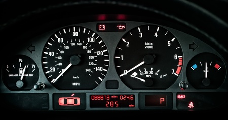 odometer: Close up of car dashboard on sports car