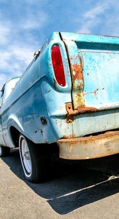 Close up detail of a blue truck tail brake light