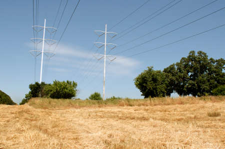 power lines on field with yelloe and dry grass Stock Photo - 13094130