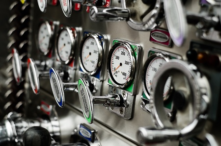 discharge: pump panel and discharge gauges and piston valve