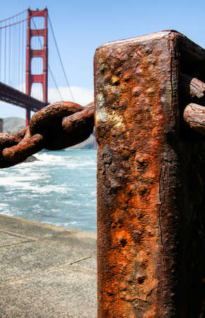 detain: old rusty pole by the Golden Gate Bridge