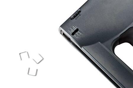 staplers: Black stapler gun isolated on white background