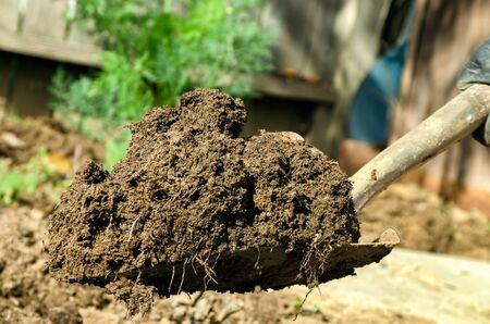 shovel in dirt: a close up of shovel full of dirt
