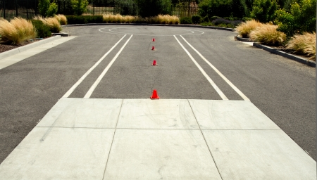 test drive: Test drive space for motorcycle with little cones