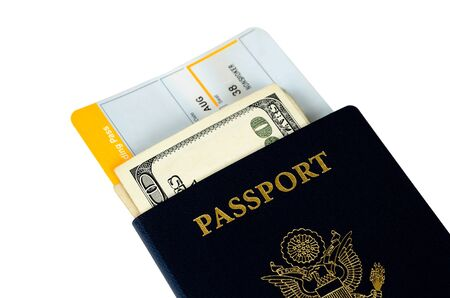 two us passports with two boarding passes and money
