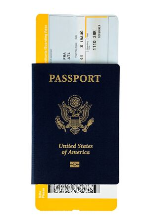 US passport with boarding pass on white background Stock Photo - 14462795