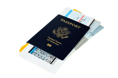US passport with three boarding passes on white background Stock Photo