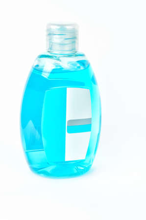 Plastic bottle with light blue cosmetics product