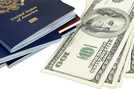 passports and money, close up photo