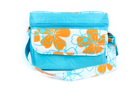 blue cooler bag with carrying strap isolated on white background photo