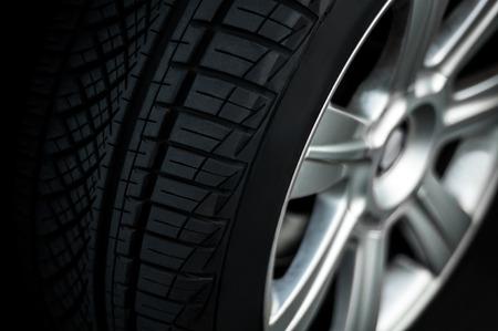 Car wheel on a car,  close-up, low key