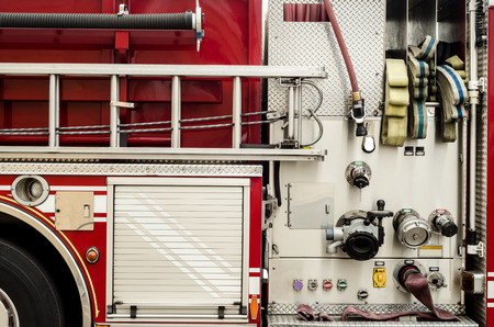 firetruck: Complex pumping and valve controls on a firetruck Stock Photo