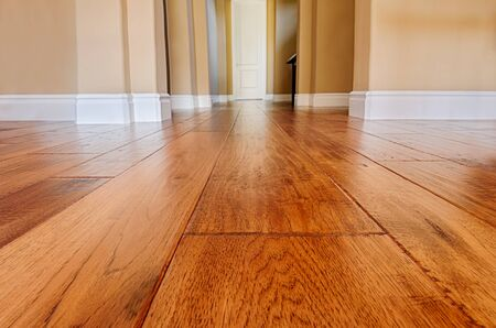 Newly installed hardwood floor patched and refinished Stock fotó