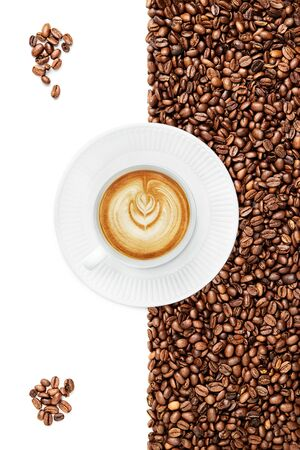 Cup of a Late on a white plate suraunded by coffee beans on the white background bunch of coffee beans in the corners  isolated on the white background, cup facing 8 oclock Stock fotó