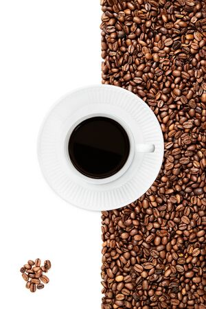 Cup of black coffee tilted right on a white plate suraunded by coffee beans on the white background bunch of coffee beans in the left bottom corner isolated on the white background Stock fotó