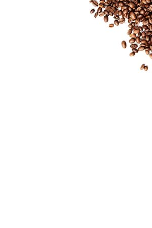 Roasted Coffee beans isolated in the left top corner on white background, negative space, high resolution Stock fotó