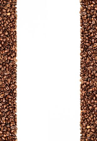 Coffee bean frame with white background in the middle, negative space, vertical orientation, high resolution 5684 x 8256 pixels, 46 megapixels