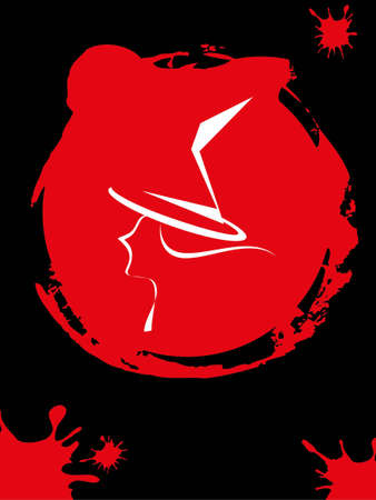 witchcraft: The red witchcraft pad on black background. Illustration