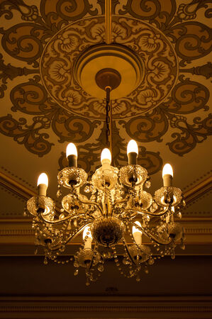 celling: Chandelier crystal hanging from celling