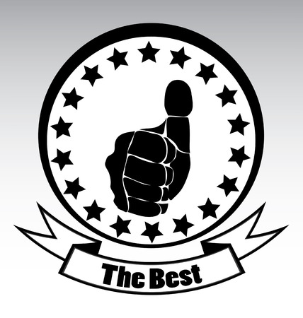 Thumbs up emblem for the best in black and white template  Vector