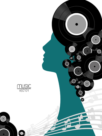 woman background: The music vinyl poster with silhouette woman background  Illustration