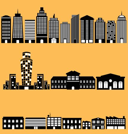 resident: Building icon vectors set in black silhouette. Illustration
