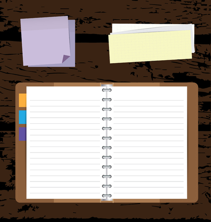 memo pad: Notebooks with  notepad on wooden background. Illustration