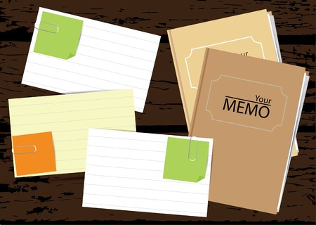memo pad: Paper notes with notebooks on wooden background.