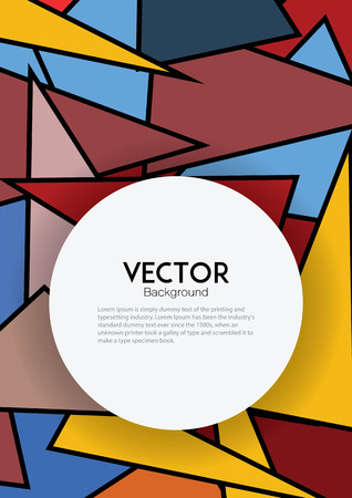 illustratio: Cover template with colorful geometric for book, brochure, report or poster.