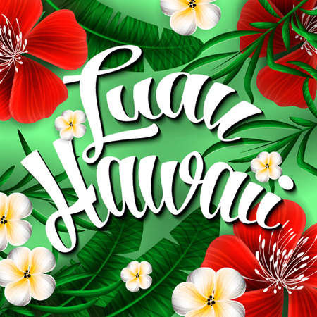 luau party: Luau Hawaii Invitation Hand lettering exotic with tropical flowers Illustration
