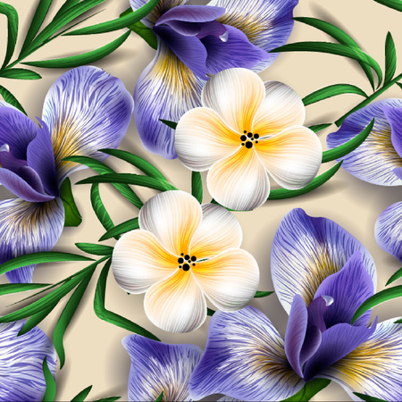 luau: Seamless pattern with watercolor flowers. Iris. Orchid.