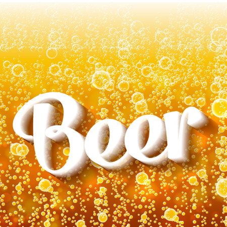 magnification: Beer in the high magnification (close-up). Background beer with foam and bubbles