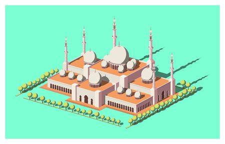 Isometric Grand Mosque Surrounded By Trees With Aqua Menthe Background  イラスト・ベクター素材
