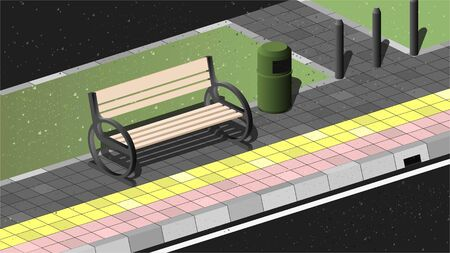 Vector Illustration of pedestrian in Jakarta. Consist of bench, trash bin, poles, and paving Illustration