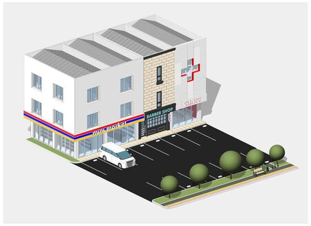Isometric view of a commercial area, consist of a clinic, mini market and a barber shop. With parking lot, car, pedestrian, trees, and bench.