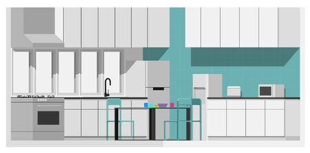 Vector Illustration of a man work from his home kitchen. Accompanied by his wife and son.