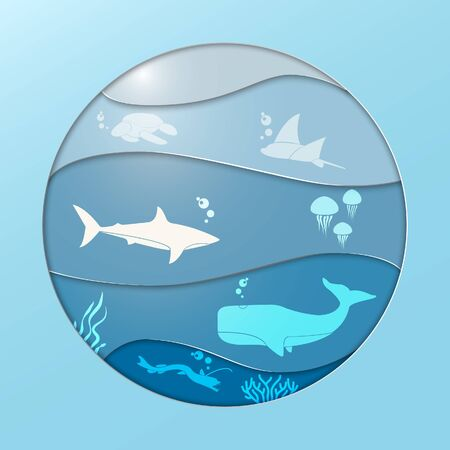 Vector Illsustration of ocean in paper cut style with dolphin, squid, octopus, crab,starfish, and lantern fish. Suitable for world ocean day Illustration