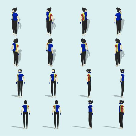 Vector illustration collection of a salesgirl character, wearing mask and hand gloves, in 16 different collection. Including isometric and front view perspective.