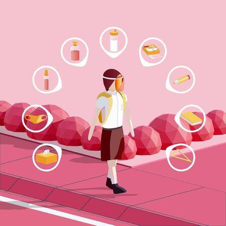 Vector Illustration of a girl in school uniform, wearing face shield, with new normal school stuff in her bag. Such as tissue, face mask, hand sanitizer, soap, drink bottle, lunch box, pencil, book, and ruler.