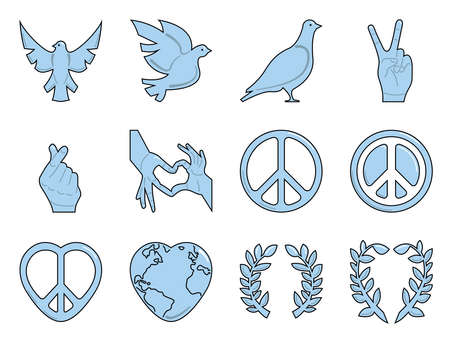 Twelve icon collection, suitable for international day of peace, in filled outline style Vectores