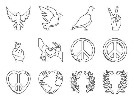 Twelve icon collection, suitable for international day of peace, in outline style