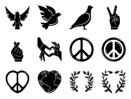 Twelve icon collection, suitable for international day of peace, in glyph style Vectores