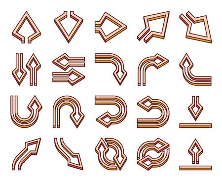 Twenty arrows icon in filled outline style