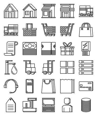 Thirty icons in outline style. Suitable for e-commerce, online shopping, retail, and other trading theme. Vettoriali