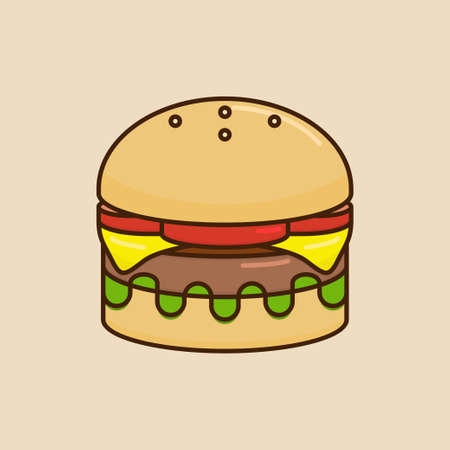 Vector illustration of a burger. Suitable for world food day, restaurant, and other food related theme and event. Ilustracja